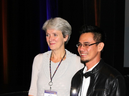With Dr. Sally Wyatt, Chair at the 2013 WSSF Photo credit to WSSF/ISSC